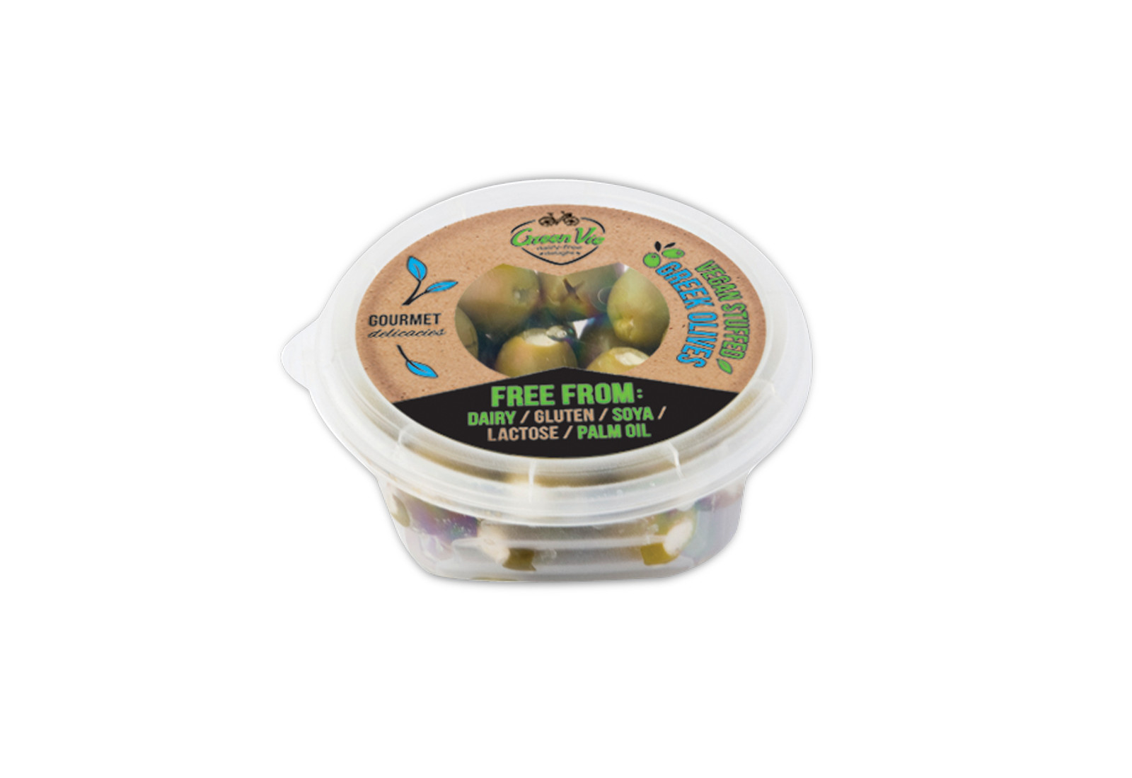 Vegan Dairy-Free Greek olives stuffed with GreenVie spread 250g