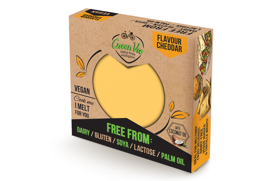 Vegan Dairy-Free Cheddar flavour cheese package block 250g