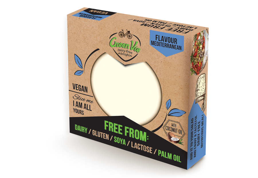 Vegan Dairy-Free Mediterranean Feta cheese package block 250g