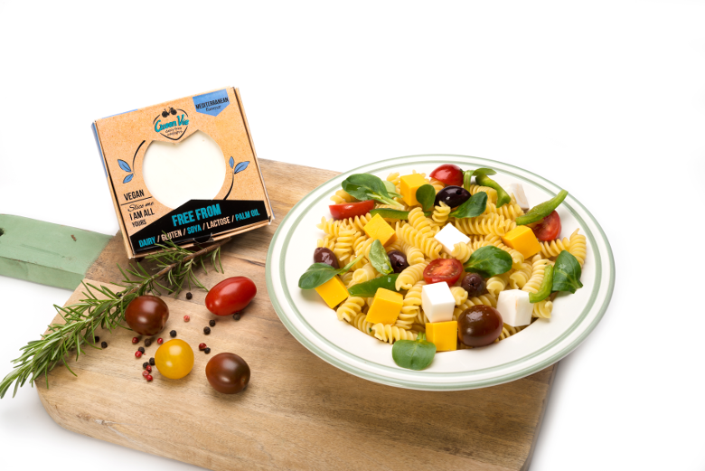 Vegan Dairy-free Plant Based Diet Pasta Salad with Mediterranean Feta flavour cheese