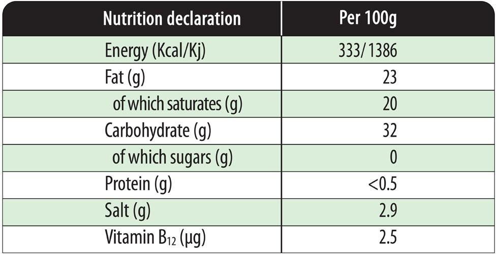 Nutrition Declaration - Vegan Mediterranean flavour 2.5kg block