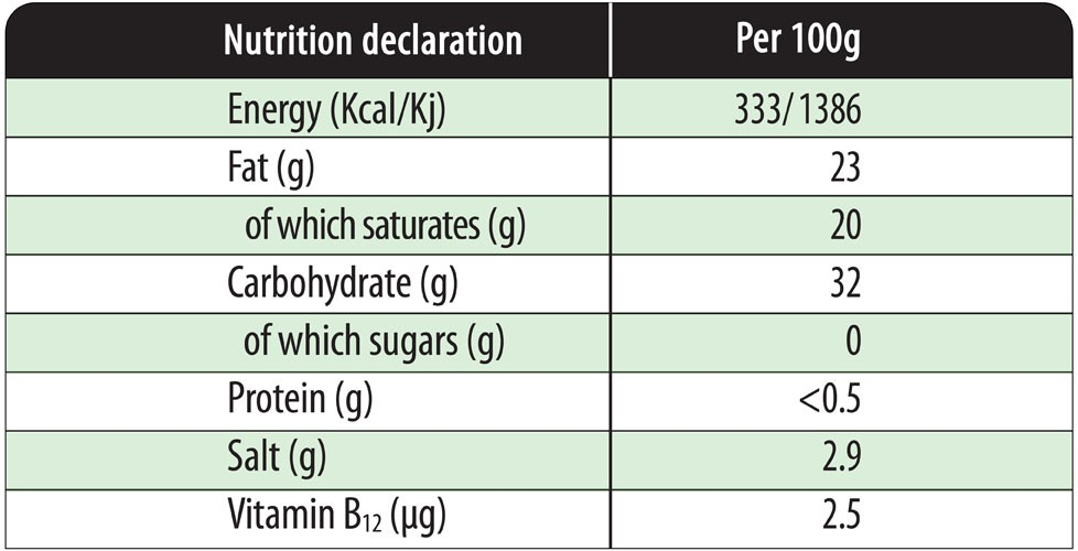 Nutrition Declaration - ParVeggio grated